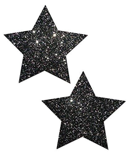 Star Nipple Pasties Black Glitter Pastease O/S
