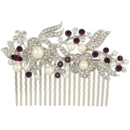 EVER FAITH® Cream Simulated Pearl Austrian Crystal Bridal Flower Hair Comb Purple Silver-Tone