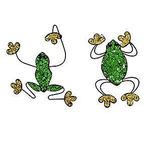 east2eden Set of 2 Glitter Metal Slim & Wide Frog Wall Art Garden Ornament Decoration