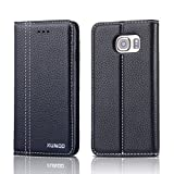 Note5 Case Wallet, Genuine Leather Wallet Case Flip Cover With Stand Feature For Samsung Galaxy Note 5 (Black)