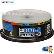 Archival Gold DVD-R Write-Once 4.7GB 8x Inkjet Printable Recordable Disc Spindle Pack Of 25 And Free 6 Feet Netcna...