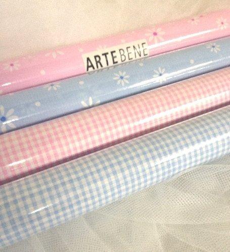 """Carta da regalo """"Vichy"""" o """"Fiori"""" colori azzurro o rosa cm 70x200"""