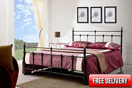 Black Metal Bed Frame - VARIOUS SIZES FROM STOCK (4ft SMALL DOUBLE)