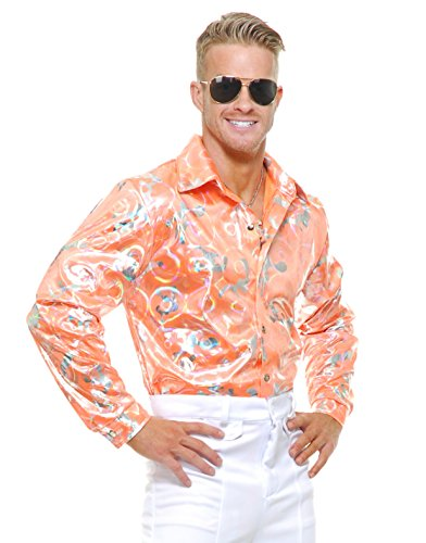 Mens Adult's 70s Metallic Shiny Tangerine Orange Disco Shirt Costume