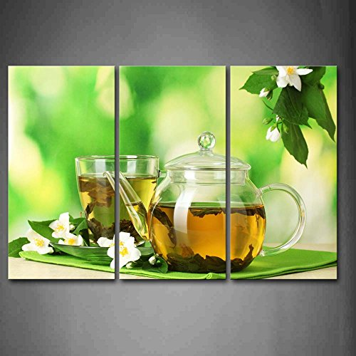 First Wall Art® - Tea In Teapot With White Flower Wall Art Painting The Picture Print On Canvas Food Pictures For Home Decor Decoration Gift