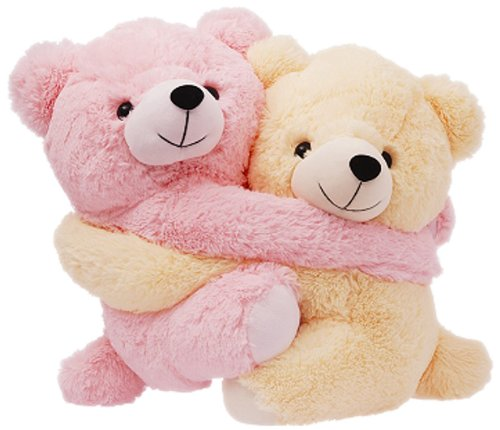 Dimpy Stuff Dimpy Stuff Cuddly Pink and Cream Bear Couple Soft Toy, Pink
