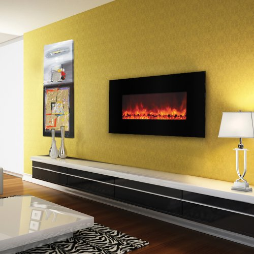 Yosemite Home Decor DF-EFP1000 Contemporary Large Glass Electric Heater, Sleek Black