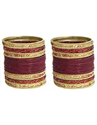 Two Sets Of Maroon Glitter Bangles - Metal