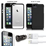 iPhone 5 Essentials Bundle Includes iPhone 5 Bumper + iPhone 5 Slim Fit Snap Case + 3ft. 8 Pin Lightning USB Data/Sync Charge Cable + USB Car Charger +3 Pack iPhone 5 Screen Protectors (Black, iPhone 5)