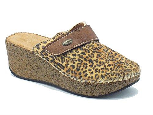 Pantofole donna Cinzia Soft in tessuto leopardato beige (Taglia 39)