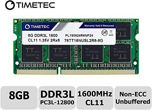 Timetec 8GB DDR3L 1600MHz PC3L-12800 Non ECC Unbuffered 1.35V CL11 2Rx8 Dual Rank 204 Pin SODIMM Laptop Notebook Computer Memory Ram Module Upgrade(8GB - Fast Ship) (Tamaño: 8GB - Fast Ship)