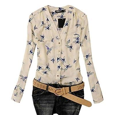 Landfox Women's Fashion Elegant Bird Print Blouse Long Sleeve Casual Slim Shirts