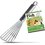 Elite Chef Fish Spatula Turner with Offset Slotted Metal Head Keeps Your Food Intact