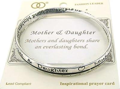 Mother & Daughter Everlasting Bond Engraved Twist Bangle Bracelet & Inspirational Card Jewelry Nexus