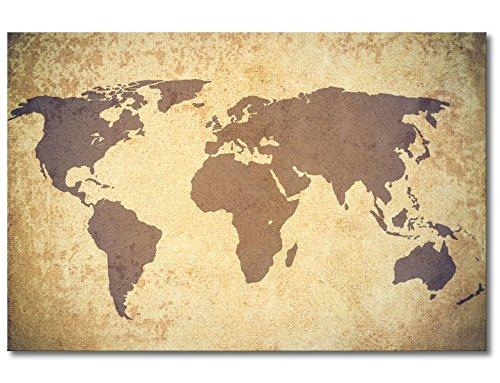 """® Gedrucktes Leinwandbild """"Worldmap Vintage"""" 120x80cm - in 6 verschiedenen Größen. Fertig gespannt auf Holzkeilrahmen. Günstige Leinwanddrucke für Kinderzimmer Schlafzimmer."""