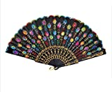MECO(TM) Peacock Pattern Sequin Fabric Hand Fan Decorative Fashionable (Colorful)