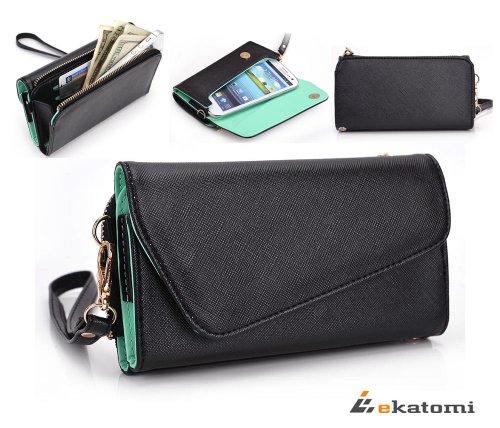 Universal Wristlet Women's Wallet fits Nokia Lumia 521 / 929 / 525 Phone Case Phone Case - MINT GREEN & BLACK [UrBan Series]