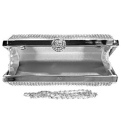 Wocharm Gold Silver Glitter Diamante Ladies Evening Hard Case Box Glitz Clutch Bag Wedding Handbag Events (Silver) - more-bags
