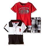 U.S. Polo Assn. Boys' 3 Piece Patchwork Short, Graphic T-Shirt and Color Blocked Shirt, Multi Plaid, 24 Months
