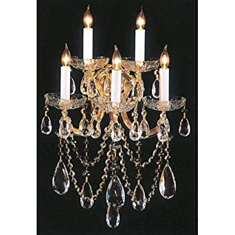 Bohemian 5 Light Crystal Candle Wall Sconce Finish: Gold, Crystal Type: Italian
