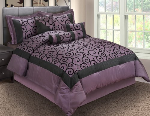 11 piece queen robbin purple and black bed in a bag set