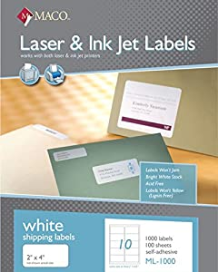 Maco laser ink jet white shipping labels 2 x for Maco laser and inkjet labels template