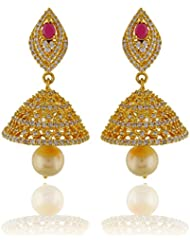 One Stop Fashion Smart Gold Plated CZ Stones Copper Jhumkas Earrings For Girls And Womens