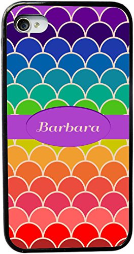 Rikki Knighttm Barbara Name On Rainbow Scallop Design Design Iphone 5 & 5S Case Cover (Black Rubber With Bumper Protection) For Apple Iphone 5 & 5S front-616040