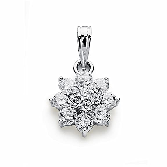 18k white gold pendant zircons rennet 14mm. [AA1819]