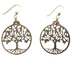 Small Tree of Life Peace Bronze Earrings on French Hooks