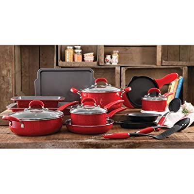 The Pioneer Woman Vintage Speckle 20-Piece Cookware Combo Set,RED | Modern Functionality Vintage Speckle 20-Piece Cookware Combo Set - RED
