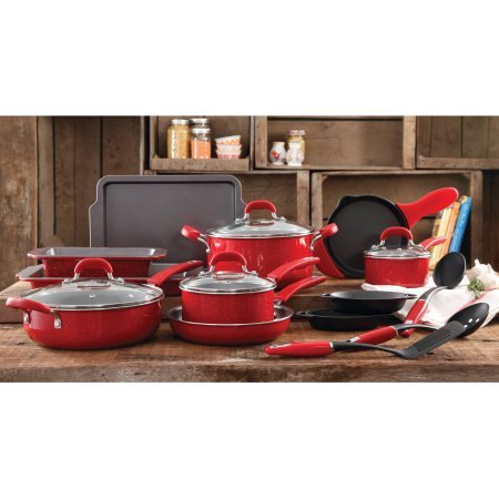 The Pioneer Woman Vintage Speckle 20-Piece Cookware Combo Set (Red) (Red Cast Iron Cookware compare prices)