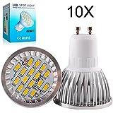 Elinkume 10X GU10 Ampoules LED 6W Lampe Bulb SMD 5630 LED Spot Bulb 480-500LM Super Lumineux lampe de salon Blanc Chaud (3000K) AC 90-240V
