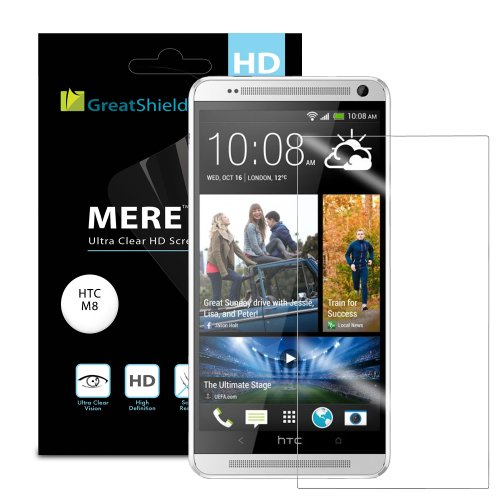 =>  GreatShield MERE Mark II Ultra Clear (HD) Screen Protector for HTC One M8 (2014 Release) - LIFETIME WARRANTY (Retail Packaging) - 3 pack