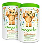 Babyganics Alcohol Free Hand Sanitizer Wipes, Mandarin, 100 Count Canister (Pack of 2)