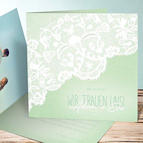 hochzeitseinladungen bestellen pastellspitze 45 karten quadratische klappkarte 145x145 inkl. Black Bedroom Furniture Sets. Home Design Ideas