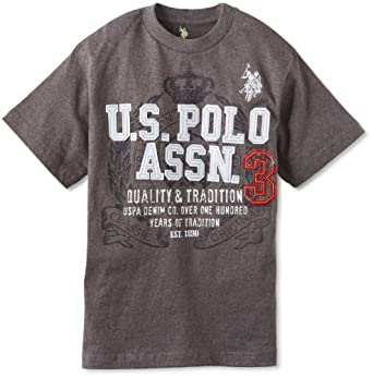 U.S. Polo Assn. Big Boys' Short Sleeve Graphic T-Shirt, Dark Grey Heather, 14/16
