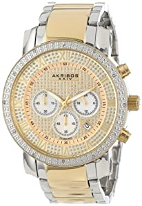 Akribos+XXIV Akribos XXIV Men's AK439TT Grandiose Diamond Quartz Chronograph Gold Dial Watch