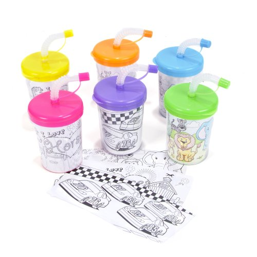 Assorted Design And Color Make Your Own Sippy Sipper Cups (12) - 1