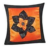 BIG LILY FLOWER PATCH CUSHION COVER ORANGE & BLACK 1 PC (40 X 40 CMS)