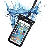iphone7/6s 防水ケース, ESR IPX8 防水力抜群 水、お湯、雪や埃等完璧にシャットアウト ストラップ付属 6センチ以下全機種対応 (ブラック)