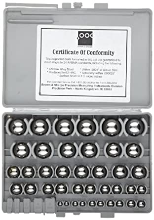 Brown & Sharpe 599-766M Metric Precision Gauge Ball Set, Chrome Hardened Steel, 1-50mm Range, 50 Piece Set with Case, AFBMA-Certified