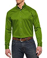 Ariat Men's Solid Twill Green Long Sleeve Shirt