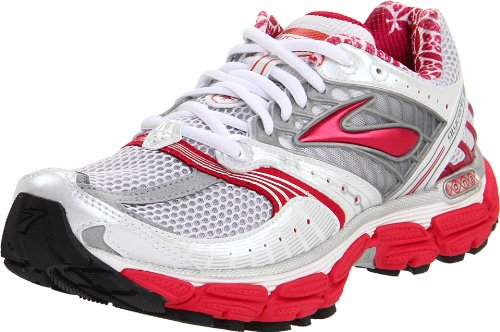 BROOKS Glycerin 9 Ladies Running Shoes, Silver/Red, UK10 - Width 2A