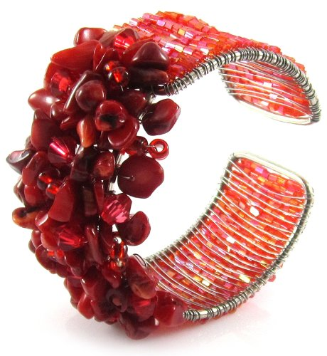 MGD, Red Coral Chip Cluster Wrap Bracelet, Adjustable Cuff Bangle, Fashion Jewelry for Women, Teens and Girls , JB-0025