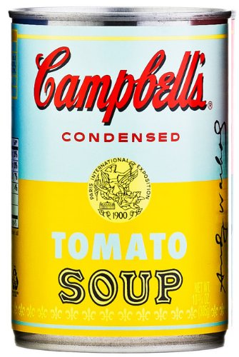 tomato soups campbell 39 s tomato soup limited edition can andy warhol light blue yellow. Black Bedroom Furniture Sets. Home Design Ideas