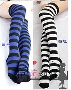 Blue Stripe Panty & Stocking with Garterbelt animal the Knee Sock Stockings