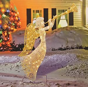 48 glittered trumpeting angel lighted christmas yard art decoration outdoor for Angel of the north christmas decoration