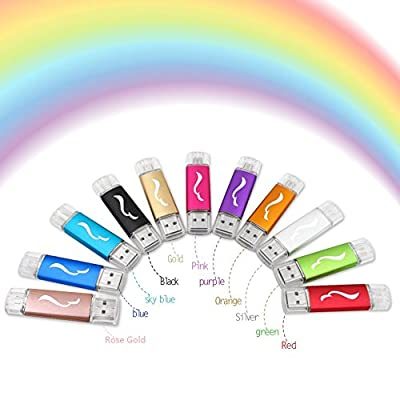 Techkey OTG USB Flash Drive for Cell Phones,Tablets and PCs,Rainbow Series,64GB,Purple