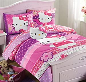 Amazon.com - Girls Hello Kitty Twin Comforter, Sheets, Sham, Toss